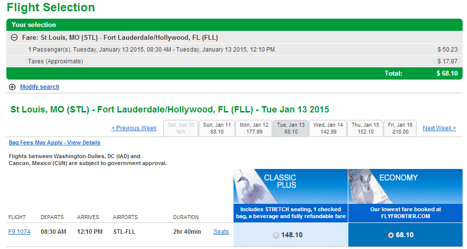 Frontier Results Page: St Louis to Fort Lauderdale