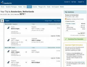 Boston-Amsterdam: Travelocity Booking Page