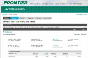 Chicago-Atlanta: Frontier Booking Page