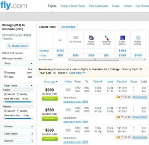 Chicago-Honolulu: Fly.com Search Results