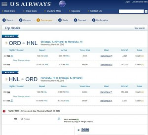 Chicago-Honolulu: US Airways Booking Page