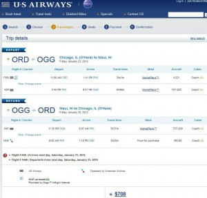 Chicago-Kahului, Maui: US Airways Booking Page