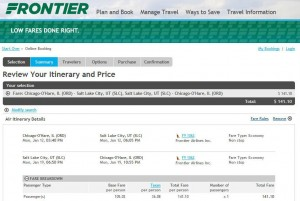 Chicago-Salt Lake City: Frontier Booking Page