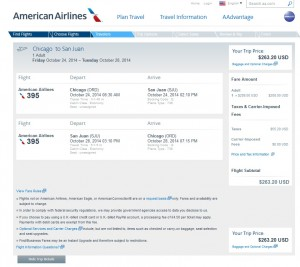 $264-$268 -- Chicago to San Juan, Puerto Rico: American Airlines Booking Page