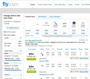 $264-$268 -- Chicago to San Juan, Puerto Rico: Fly.com Results