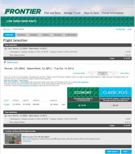 $15 -- Denver to Bakersfield One Way: Frontier Booking Page