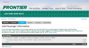 $98 -- Denver to Los Angeles: Frontier Booking Page