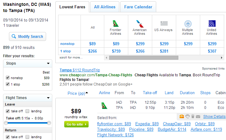 Fly.com Results Page: D.C. to Tampa