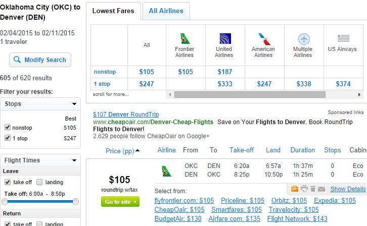Fly.com Results Page: OKC to Denver