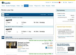 $165 -- Fort Lauderdale to Las Vegas: Expedia Booking Page