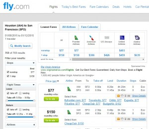 $77 -- Houston to San Francisco: Fly.com Search Results
