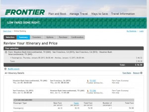 $77 -- Houston to San Francisco: Frontier Booking Page