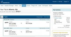 Houston-Atlanta: Travelocity Booking Page