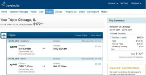 Houston-Chicago: Travelocity Booking Page