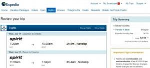 Houston-Orlando: Expedia Booking Page