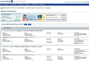 Los Angeles-Bangkok: United Booking Page