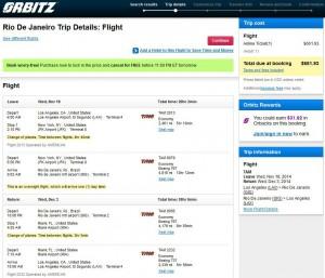 Los Angeles-Rio de Janeiro: Orbitz Booking Page