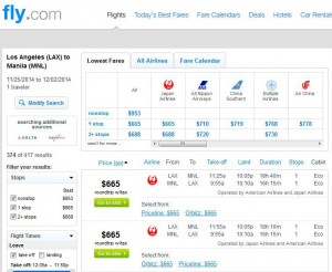 Los Angeles-Manila: Fly.com Search Results
