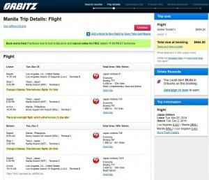 Los Angeles-Manila: Orbitz Booking Page