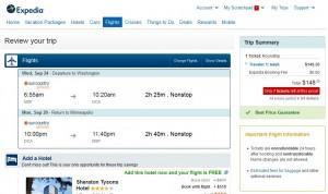$149 -- Minneapolis to Washington, D.C.: Expedia Booking Page
