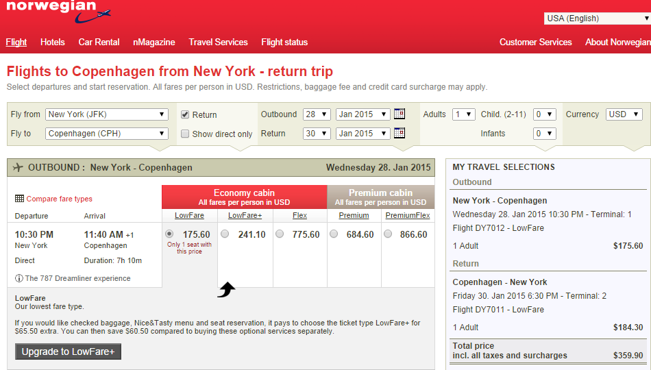 Norwegian Shuttle Results Page: NYC to Copenhagen