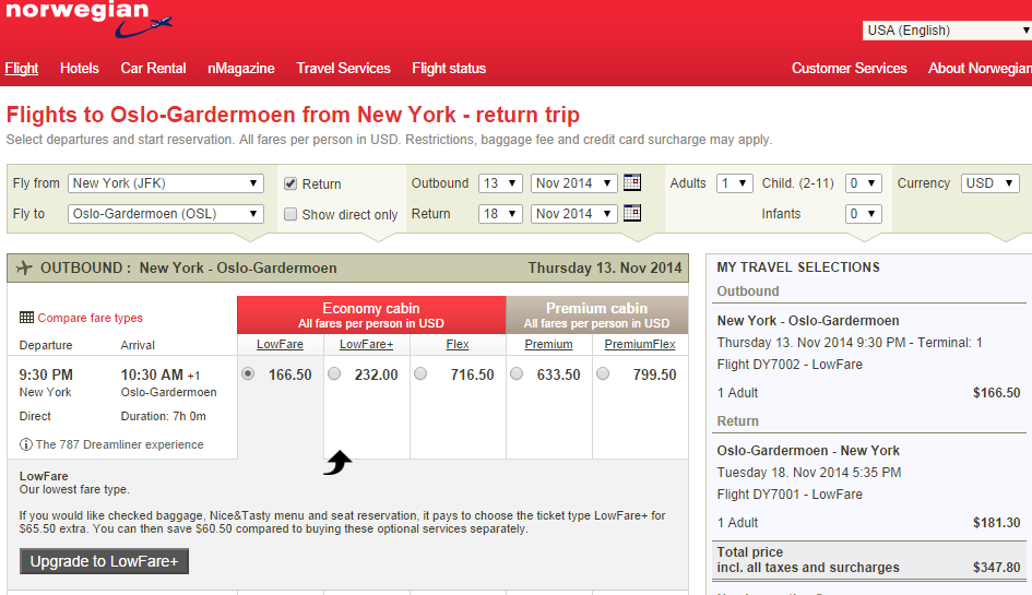 Norwegian Shuttle Results Page: NYC to Oslo