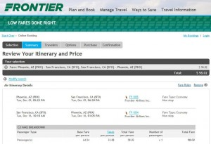 Phoenix-San Francisco: Frontier Booking Page