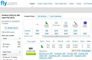 Phoenix-Salt Lake City: Fly.com Search Results