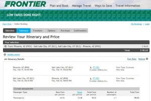 Phoenix-Salt Lake City: Frontier Booking Page