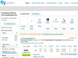 Providence-Fort Lauderdale: Fly.com Search Results
