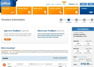 Providence-Fort Lauderdale: JetBlue Booking Page