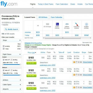Providence-Orlando: Fly.com Search Results