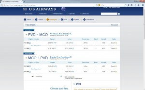Providence-Orlando: US Airways Booking Page