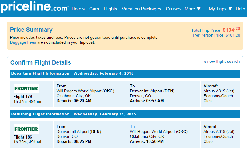 Priceline Booking Page: OKC to Denver
