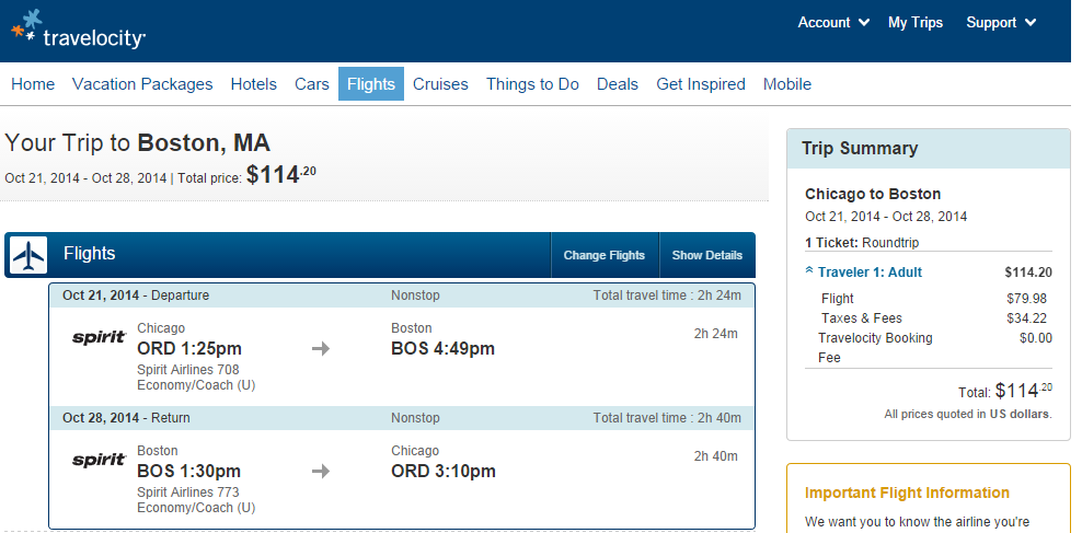 Travelocity Booking Page: Chicago to Boston