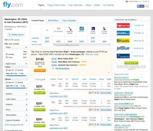 $251 -- Washington, D.C., to San Francisco: Fly.com Search Results