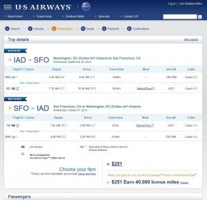 $251 -- Washington, D.C., to San Francisco: US Air Booking Page