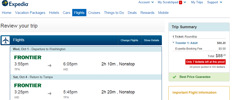 Expedia Booking Page: Tampa to Washington, D.C.