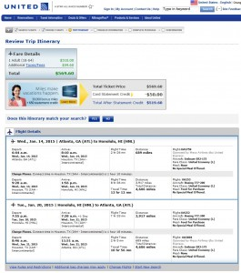 $570 -- Atlanta to Honolulu: United Booking Page