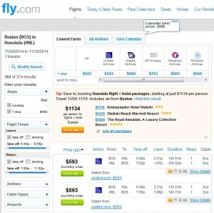 Boston-Honolulu: Fly.com Search Results