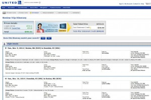 Boston-Honolulu: United Booking Page