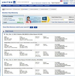 Boston-Lihue: United Booking Page
