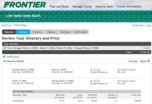 Chicago-Miami: Frontier Booking Page