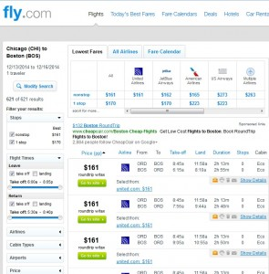 $161 -- Chicago to/from Boston: Fly.com Search Results