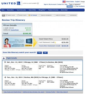$161 -- Chicago to/from Boston: United Booking page