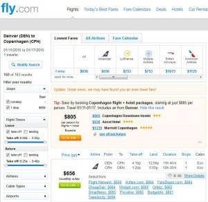 Denver-Copenhagen: Fly.com Search Results