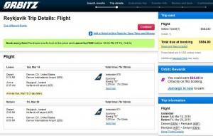 Denver-Reykjavik: Orbitz Booking Page