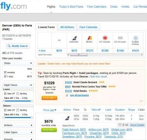 Denver-Paris: Fly.com Search Results