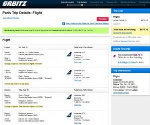 Denver-Paris: Orbitz Booking Page