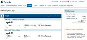 Dallas-Las Vegas: Expedia Booking Page